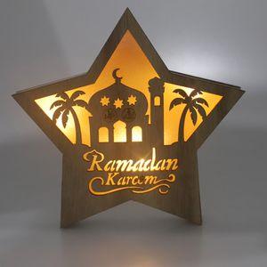 Hölzerne Ramadan Eid Mubarak Dekorationen für Home Moon LED Kerzen Licht