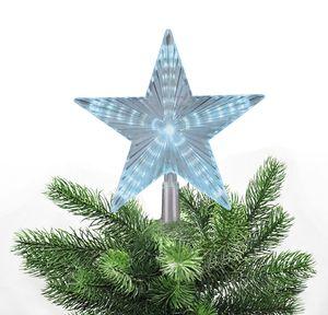 Christbaumspitze Stern beleuchtet 22 cm Warmweiß oder Weiß Weihnachtsbaum Spitze 31 LEDs mit Lauflicht, Farbe:Weiß