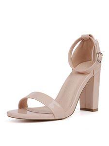 Abtel Damen Sandalen Block Ferse Open Toe Knöchel Mode Schnürschuhe,Farbe:Nude,Größe:43
