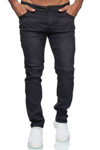 Herren Slim Fit Jeans Basic Stretch Hose Used Effekt Button-Fly Low Rise, Farben:Schwarz, Größe Jeans:31W
