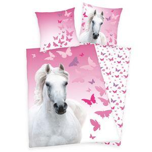 Herding Bettwäsche mit Pferd weiß Butterfly 135 x 200 cm 80 x 80 cm