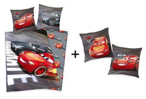 Geschenkset: Disneys Cars 3 Bettwäsche 80x80 + 135x200cm und Kissen 40x40cm