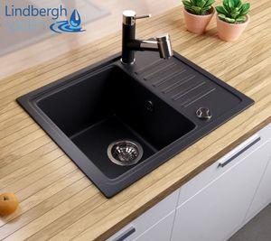 """LINDBERGH® Granitspüle Schwarz """"SIM11"""" inkl. Siphon Küchenspüle Einbauspüle KÜCHE Spüle"""