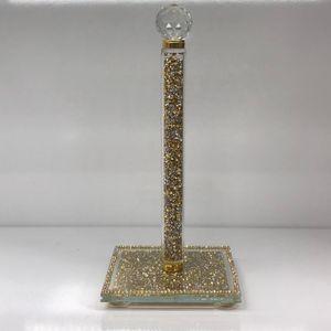Zellerfeld Küchenrollenhalter mit schönen Diamanten, Silberkristall, Deko Dekoration 30 cm Gold (TM221-G)