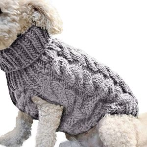 ASKSA Hundepullover Haustier Warmer Mantel Strickwolle Winterpullover für kleine und mittelgroße Hunde(Grau,L)