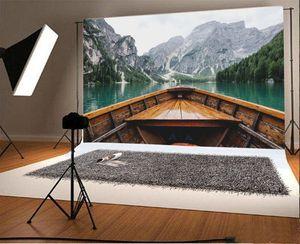 ABPHQTO Berge Hintergrund 150x220 cm Boot Grüne Bäume Wasser Reisen Landschaft Fotografie Hintergrund Fotos Video Studio Requisiten