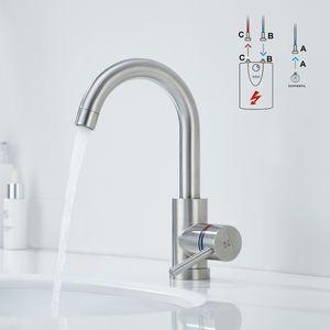 Niederdruck Wasserhahn Küche 360° Drehbar Küchenarmatur niederdruck Mischbatterie Küche Armatur Edelstahl Spültischarmatur für Spüle Boiler