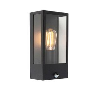 QAZQA - Modern Außen Wandleuchte schwarz mit Bewegungsmelder IP44 - Rotterdam 1 | Außenbeleuchtung - Edelstahl Rechteckig - LED geeignet E27