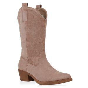 VAN HILL Damen Stiefel Cowboystiefel Stickerei Western Schuhe Cowboy Boots 832725, Farbe: Beige, Größe: 38