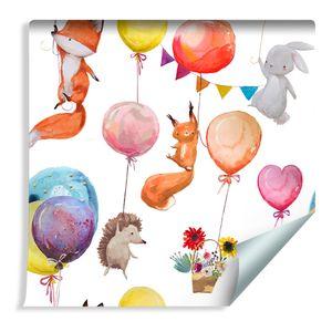 10m VLIES TAPETE Rolle Kinderzimmer Waldtiere Ballons XXL