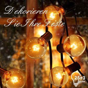 ADORIC Lichterketten G40 Lichterkette mit Draht Glühbirnen 25+3Ersatzbirnen, 7,62m Wasserdichte Beleuchtung Dekoration