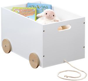 Kesper Spielzeugkiste mit Rollen, 50 x 35 x H30, weiß lackiert