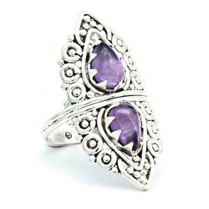 Amethyst Ring 925 Silber Sterlingsilber Damenring lila (MRI 172-01),  Ringgröße:62 mm / Ø 19.7 mm