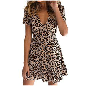Damen Leopardenmuster Minikleid Damen y Wickelkleid Clubwear Partykleid Größe:S,Farbe:Ocker