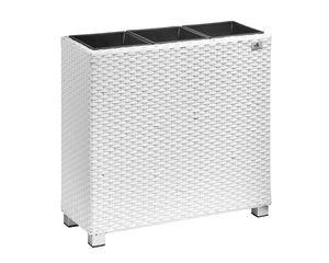 Gartenfreude Raumteiler Pflanzkübel Polyrattan 76x26x73cm, weiß, 3x Kunststoff-Einsätze; 4000-1071-208