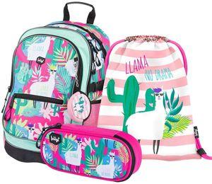 Baagl Schulrucksack Set Mädchen 3 Teilig, Schultasche ab 3. Klasse, Grundschule Ranzen mit Brustgurt, Ergonomischer Schulranzen (Llamas)