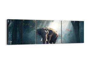 "Leinwandbild - 120x40 cm - ""Ein gemütlicher Spaziergang""- Wandbilder - Elefant Wald Dschungel - Arttor - CA120x40-3972"