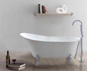 freistehende Badewanne 160 x 72 x 43,5 cm, weiß mit verchromten Füßen, BW-IX040