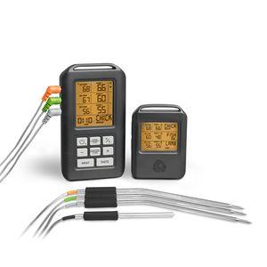 Burnhard Funk Grillthermometer, Digital Braten-Thermometer für Grill & Backofen, 4 Temperaturfühler, Timer, BBQ Thermometer, Grillzubehör für Fleisch & Fisch