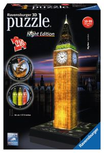 216 Teile Ravensburger 3D Puzzle Bauwerk Big Ben bei Nacht 12588