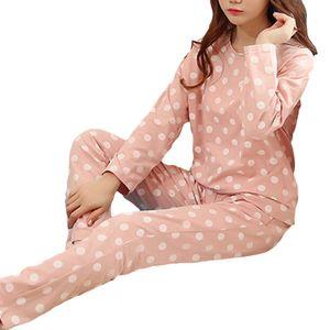 Polka Dot Print Pyjama Set Langarm Rundhals Frauen Zweiteilige Nachtwäsche||Rosa||XXL