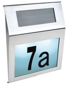 Solar Hausnummer LED Zahlen Buchstaben Akku Dämmerungssensor Montagematerial 6783