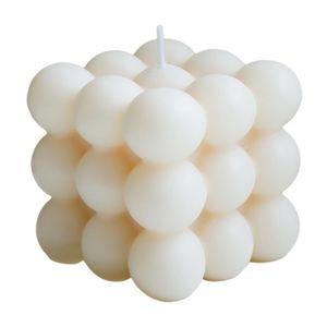 Nette Geometrie Blase Cube Kerze Soja Wachs Kleine Aromatherapie Kerzen Ätherisches Öl Entspannende Wohnzimmer Büro Kindergarten Decor Dessert Kerze Farbe Weiß