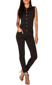 Damen Jeans Overall Jumpsuit Ärmellos Hosenanzug Einteiler, Farben:Schwarz, Größe:44