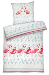 Seersucker Bettwäsche Flamingo aus 100% Baumwolle : 135cm x 200cm + 1x (80cm x 80cm) Größe: 135cm x 200cm + 1x (80cm x 80cm)