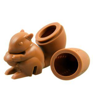 Niedliches Tier Eichhörnchen - Braun - Tee-Ei aus Silikon (BPA-frei) für losen Tee Tee-Infuser