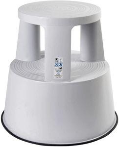 CYE 212237 Rollhocker Step aus Kunststoff, Hhe 43 cm, Tragkraft 150 kg, lichtgrau