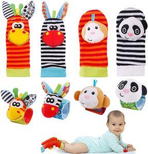 VADOOLL Baby Rasseln Socken Spielzeug 8er Handgelenk Rassel und Fuß Finder Socken Set Developmental Toys Kit für Neugeborene, Mädchen und Jungen 0 1 2 3 4 5 6 Monate (8 Stück)