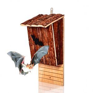 blumfeldt Fledermaushotel Nisthöhle Fledermauskasten , 18 x 37 x 15 cm (BxHxT) , aus naturbelassenem Tannenholz , rustikal , vormontiert , längliche, 2 cm breite Einflugöffnung , raubtiersicher , ganzjährig bewohnbar