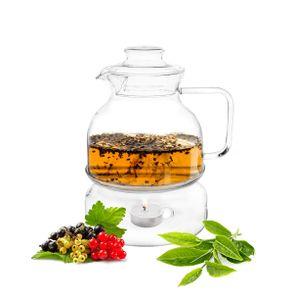 Teekanne mit Stövchen 1,5 LITER Set Teezubereiter aus Borosilikatglas Glaskanne