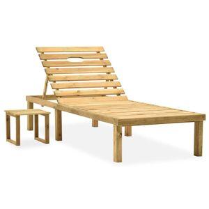 vidaXL Garten-Sonnenliege mit Tisch Kiefernholz Imprägniert