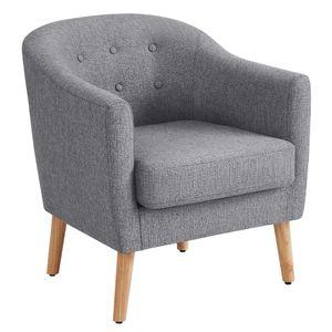 VASAGLE Relaxsessel丨Fernsehsessel mit gepolstertem Sitzkissen丨Beine aus Massivholz丨grau LAC005G01