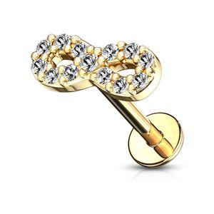 Labret Piercing Lippenpiercing Infinity Unendlichlkeit Stab Monroe Madonna Medusa Stecker Stud Zirkonia Kristalle Autiga®  1,2 mm 6 mm