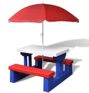 Picknicktisch Bunte Kinder-Sitzgruppe Garten Tisch Bank Stuhl Regenschirm Kindersitzgarnitur COIL