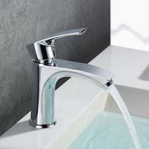 Waschtischarmatur Einhebelmischer Verchromter Messingkörper Badarmatur Wasserhahn fürs Bad Waschbecken Armatur 155mm hoch