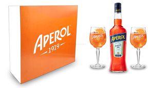 Aperol Geschenkset - Aperol Aperitivo Italiano 0,7L (11% Vol) + 2x Aperol Gläser / Glas- [Enthält Sulfite]
