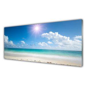 Glasbilder 125x50 Wandbild Druck auf Glas Meer Strand Sonne Landschaft