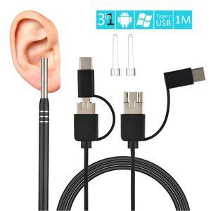 3 in 1 Professionelle Ohr Reinigung Endoskop Ohrstöpsel Mit Mini Kamera HD Ohrenschmalz Entfernung Kit Ohr Pick Otoskop Endoskop Ohr pflege