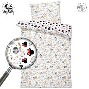 Kinderbettwäsche Bettwäsche Baby Set Babybettwäsche zweiseitig kuschelig 2 teilig mit Kissenbezug 100% Baumwolle 135x200 cm