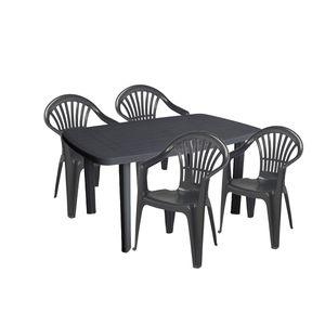 Sitzgarnitur Gartengarnitur 5-teilig Kunststoff Anthrazit