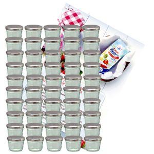 50er Set Sturzglas 230 ml Marmeladenglas Einmachglas To 82 silberner Deckel incl. Rezeptheft