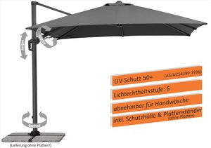 Schneider Sonnenschirm Rhodos Twist 300x300 cm anthrazit, ohne Platten, mit Plattenständer 730-15