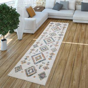 Wohnzimmer Teppich Kurzflor Mit Modernem Boho Design Und Rauten Hell, Farbe:Mehrfarbig, Größe:80x300 cm