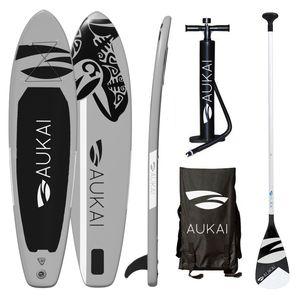 "Aukai® Stand Up Paddle Board 320cm ""Ocean"" SUP Surfboard aufblasbar + Paddel Surfbrett Paddling Paddelboard - grau"