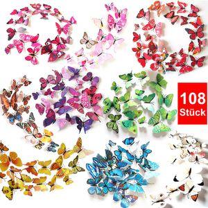 Oblique Unique 3D Schmetterlinge 108er Set Wandtattoo Wandsticker Wanddeko - bunt