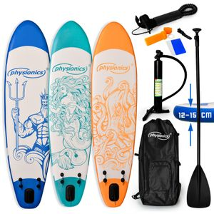 Physionics® SUP Board - 305/320/366 cm, Aufblasbar, Handpumpe mit Druckmesser, Rucksack - Paddling Board, Surfboard (320, Poseidon blau)